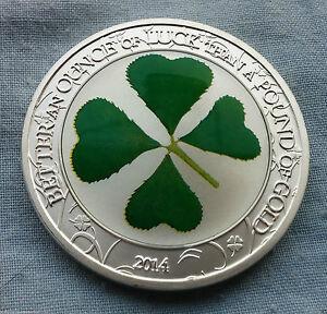 Palau-2014-5-1-Troy-Oz-Sterling-Silver-Four-Leaf-Clover-coin-MISSMINT-UNC