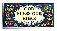 God Bless Our Home Armenian Ceramic Hanging Door Blessing House Prayer Plaque