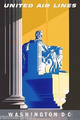 Washington D.C. Lincoln United States America Travel Advertisement Art Poster