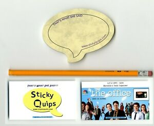 034-The-Office-034-used-prop-Pencil-plus-Sticky-Quips-Speech-Bubble-Balloon-LAST-ONE