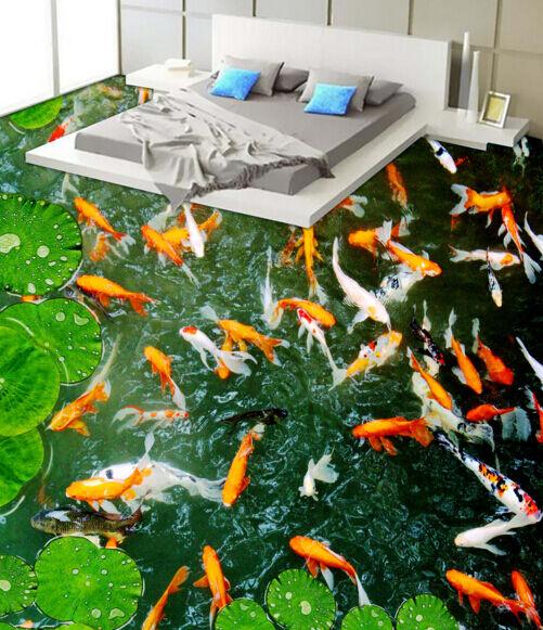 3D Goldfish Lotusblatt 657 Fototapeten Wandbild Fototapete BildTapete FamilieDE