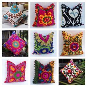 16-034-Cotton-Cushion-Cover-Wool-Hand-Embroidery-Suzani-Art-Boho-Decor-Pillow