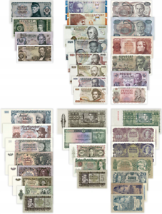 COMPLETE SET OF 38 COPIES AUSTRIAN BANKNOTES 1945-1997 REPRODUCTIONS NOT REAL