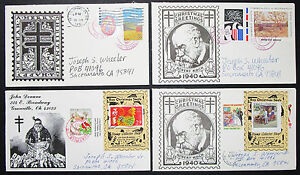 Christmas-Greetings-US-Postage-Set-of-4-Covers-Letters-Stamps-USA-H-8374