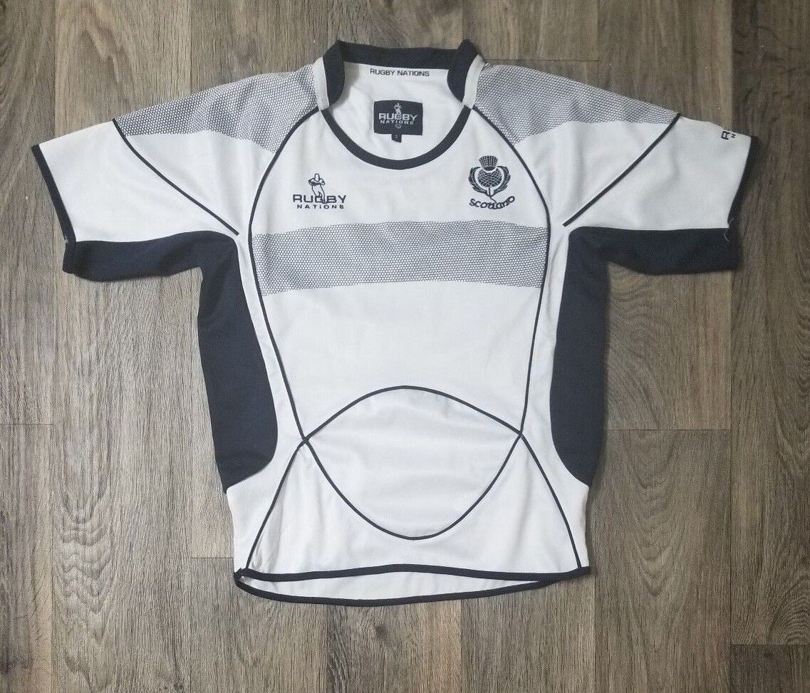 b05fd3f969817 Rugby Nations Scotland National Team Football Jersey White bluee Mens Size  Small
