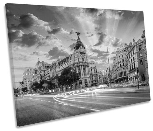 Madrid espagne sunset city b/&w toile murale art photo print unique