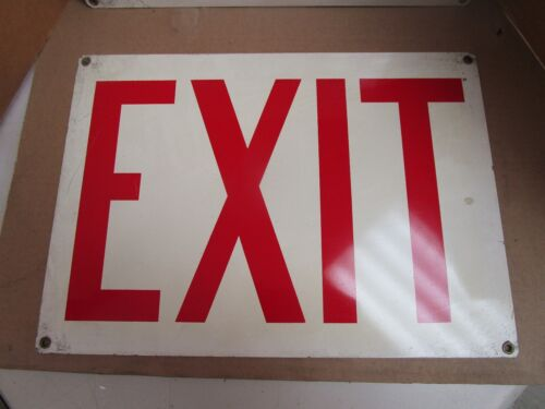 """LOT OF 2 NO NAME STEEL SAFETY EXIT SIGN 10/"""" X 14/"""" NEW"""