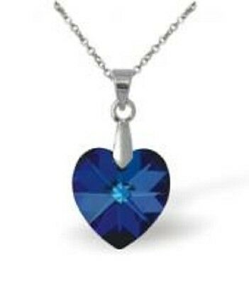 NEW! Byzantium Collection Bermuda Blue Crystal Heart Necklace/Pendant Ideal Gift