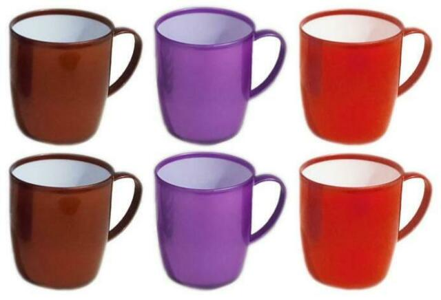 (Pack of 6) Plastic Mugs Reusable Drinking Cups Tea Coffee (Red/Purple/Brown)