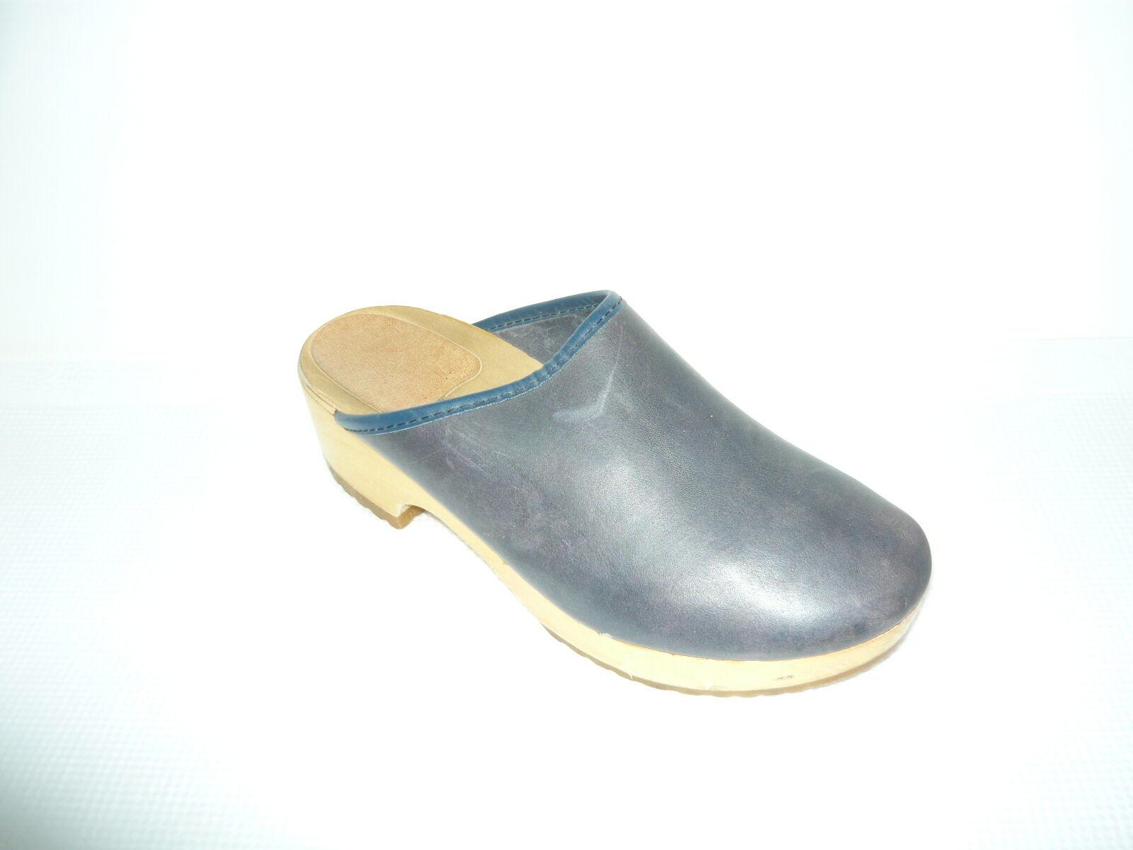 Bleu Cuir Confort Mules Sabots Taille 38 7.5-8
