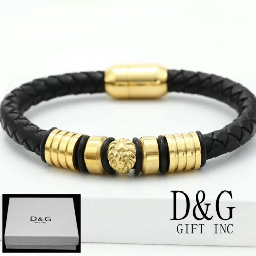 "DG Men/'s Stainless~Steel Gold 8/"" LION Braided Leather Magnetic Bracelet BOX"