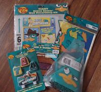 Phineas Ferb Giant Birthday Wall Hanging Loot Bags Table Cloth Hats Candles Lot
