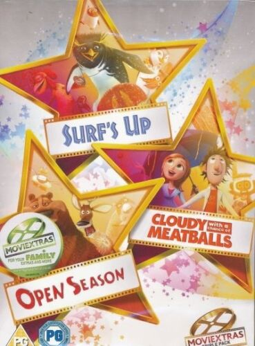 1 of 1 - SURF'S UP/CLOUDY MEATBALLS & OPEN SEASON DVD SET NEW & SEALED