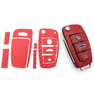 100% Vrai Carbone Rouge Clé Film Audi B Housse Clés De Voiture Clé Housse Clé-afficher Le Titre D'origine Finement Traité