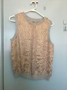 Zara-Woman-gold-and-silver-top-in-size-L