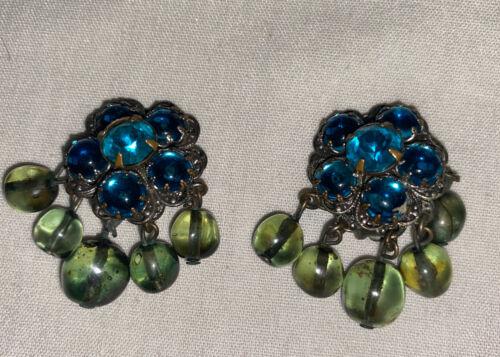 Vintage DeMario NY Blue Stone Silver Tone Green Gr