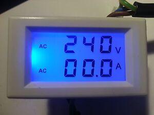 LCD Digital AC Volt Amp Panel Meter Voltmeter Ammeter 50A built in CT UK stock
