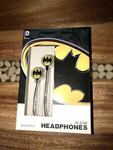 NEW-Bioworld-DC-Comics-Batman-Symbol-In-Ear-Headphones-W-Wired-For-Iphone
