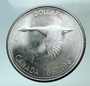1967-CANADA-CANADIAN-Confederation-Founding-with-GOOSE-Silver-Dollar-Coin-i82056
