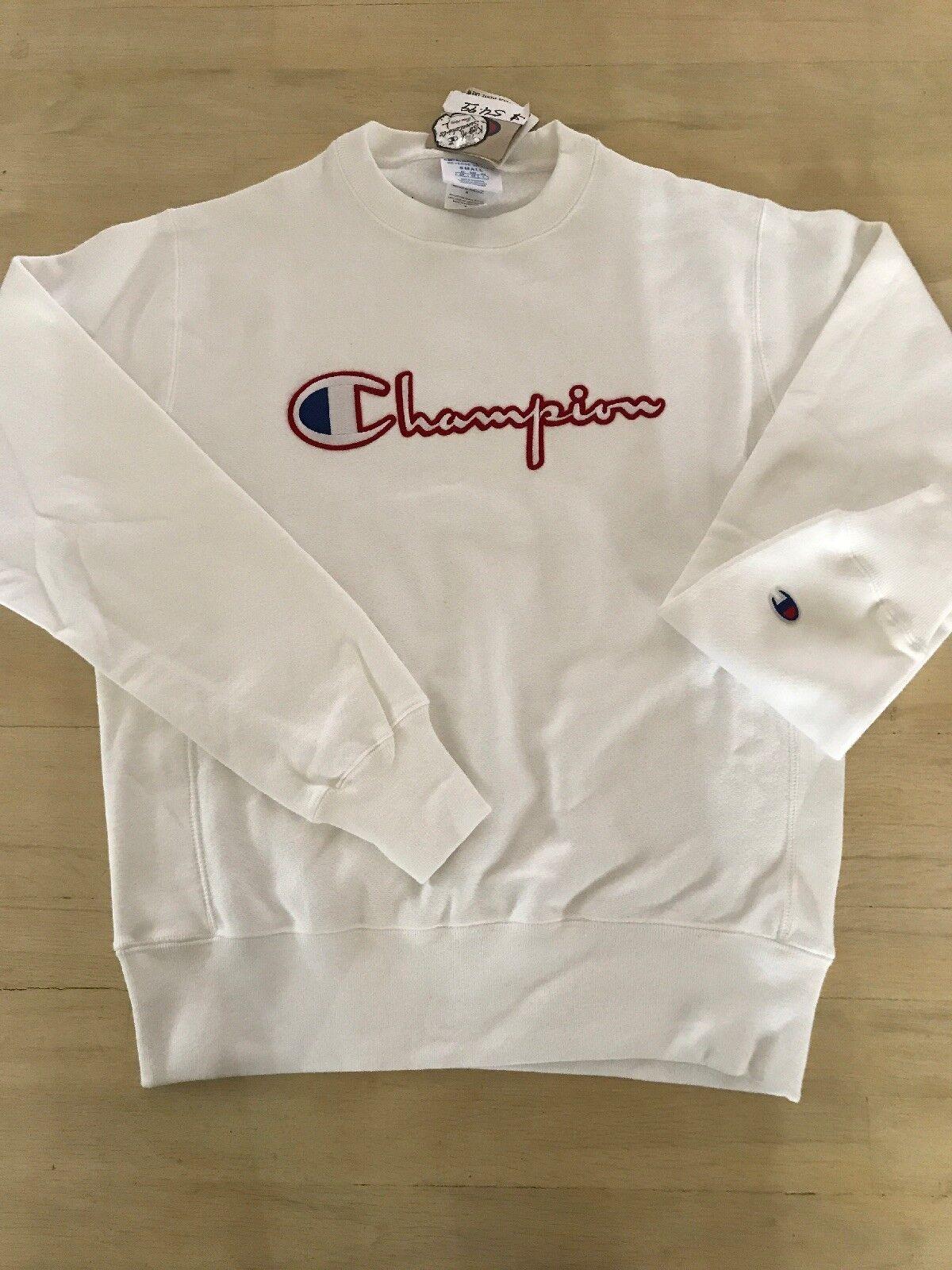 New  Herren Weiß Champion Reverse Weave Pullover Sweatshirt Champion LOGO