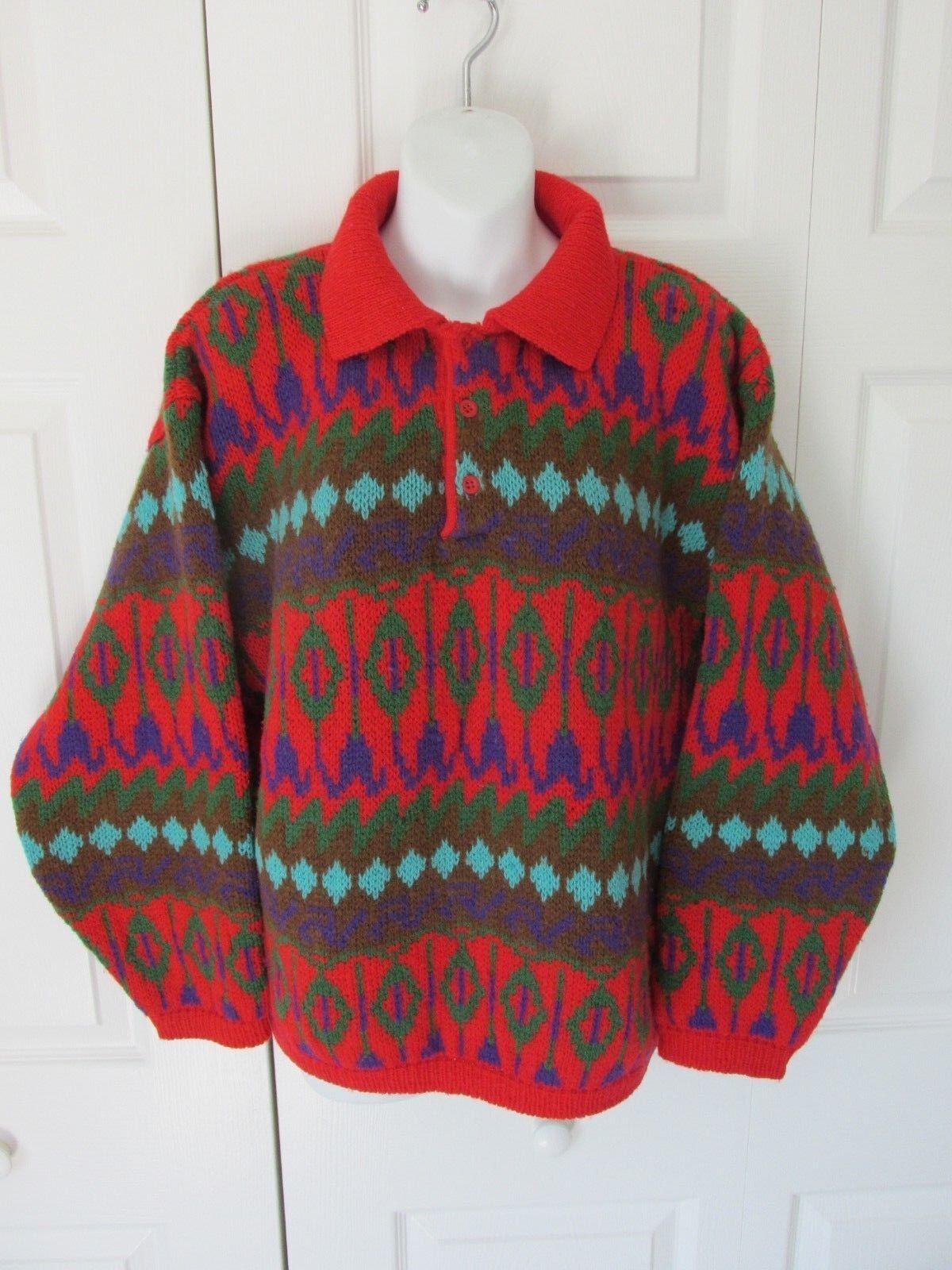 BENETTON Vintage Henley Pullover Sweater  100% Shetland Wool Sz 48 Farbeful