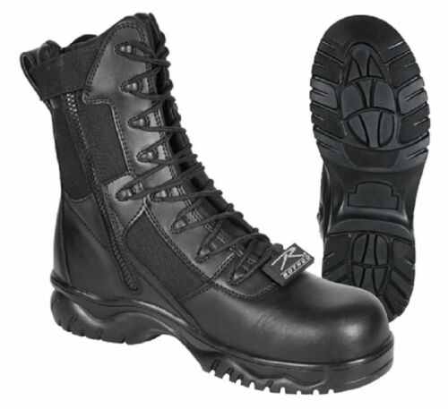 Tactical Boots Black  8 Inch Side Zipper Composite Toe  Rothco 5063