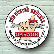 BUSTED KNUCKLE GARAGE SIGN RETRO STYLE PLAQUE CLASSIC BIKE SERVICE MAN CAVE