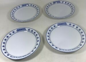 Shoney's Blue Plate Special Heavy China White 9 Plates by Vertex Antique Decorative Arts