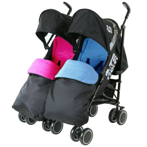 Twin Boys /& Girls Black Double Stroller Buggy Pushchair inc Raincover /& Footmuff