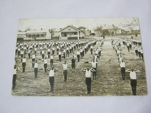 Military Training Camp Men Doing Exercises Photo Postcard T*