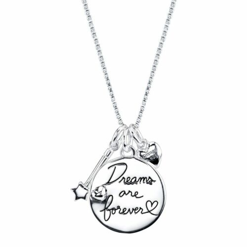 DISNEY TINKERBELL 10K GOLD PLATE STERLING SILVER FRONT BACK SCRIPT NECKLACE NEW