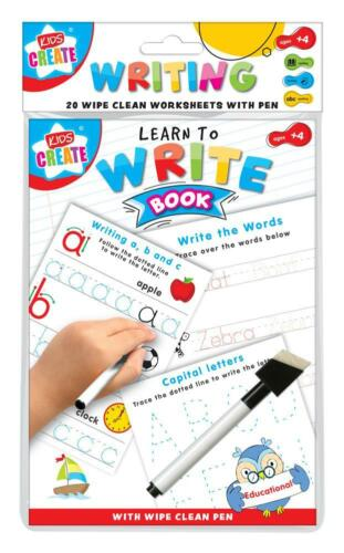 A5 Learn to Writing Words /& Letters Book 20 Wipe Clean Worksheet With Pen WOWW