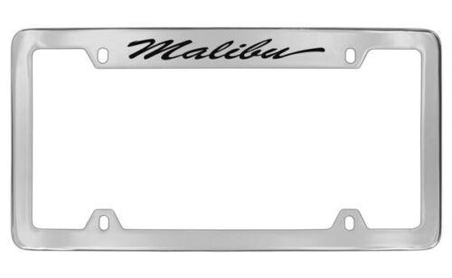 Chevrolet Malibu Script Chrome Plated Brass Metal License Plate Frame Holder