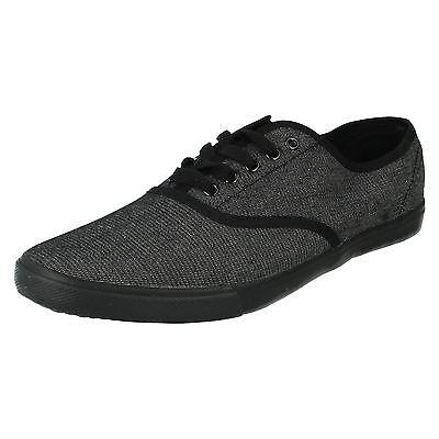 Mens Black Spot On Lace Up Canvas Shoes UK Sizes 7-10 F8683
