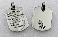 Serenity Prayer Necklace Stainless Steel Dog Tag Pendant Aa Recovery Silver