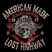 Lost Highway Indian Head Skull Biker Motors Work Shirt Dickies Button Up Garage