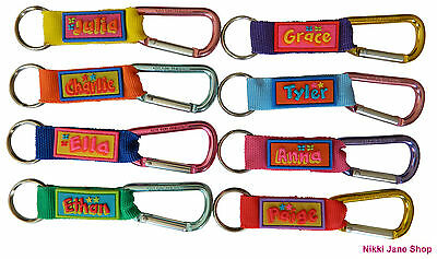 Personalised Name Keyring School Bag Tag Luggage Carabiner Clip Names G ~ M