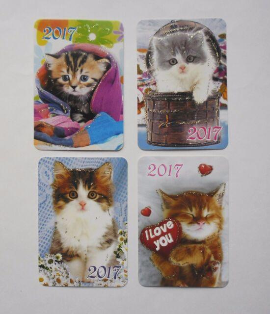 "6x9cm 2017 year Cats  Pocket Russian Calendars 3 pcs 2.3x3.5/"""