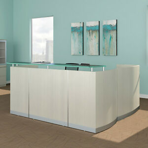 Details about MODERN L-SHAPED RECEPTION DESK White Receptionist Station  Waiting Room Salon NEW