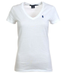 outlet store 82051 84d4a Details zu Polo Ralph Lauren Damen V-Neck Shirt T-Shirt white