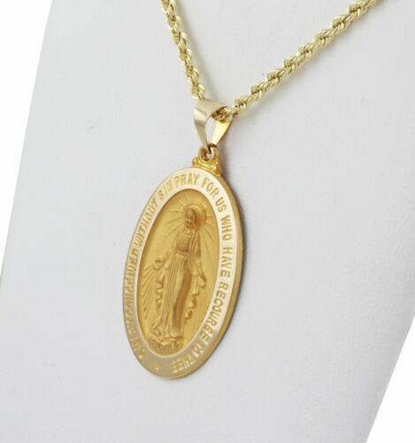 Nouveau 1 1//4 en 14k or Jaune Creux MIRACULEUSE Vierge Marie Médaille Collier Pendentif