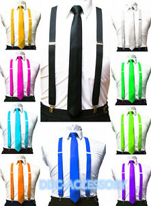 Mens-Ties-skinny-tie-and-suspenders-set-men-039-s-clip-on-back-longer-necktie-prom