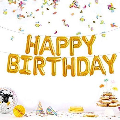 ruban Joyeux Anniversaire Gold Foil Balloon Party Décoration Avec Air chalumeau