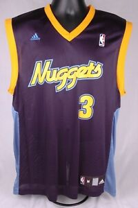 new product 1a017 4d8bf Details about Allen Iverson Jersey-Denver Nuggets-M-Dark Blue-NBA-Adidas-# 3
