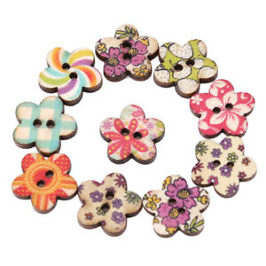 50x-Wood-Sewing-Buttons-Scrapbooking-Pattern-Floral-Plum-Mixed-1-8cm-2-Holes