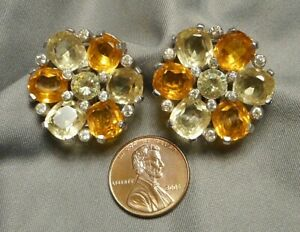 1950s-Signed-Jomaz-Citrine-amp-Topaz-Rhinestone-Round-Flower-Button-Clip-Earrings
