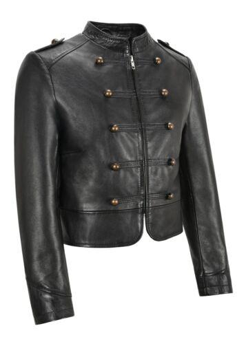 Mesdames devant clouté Manteau court noir Napa classique en cuir véritable Veste 2266