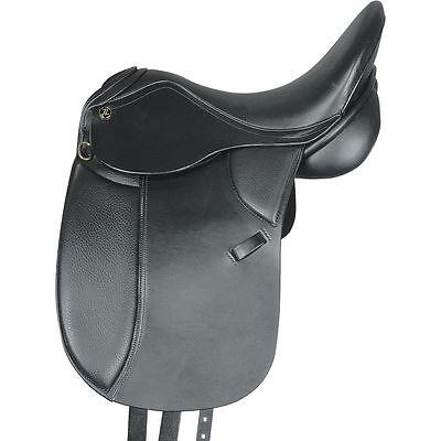 """pony dressage show saddle black 16"""" wide fitting, kieffer lech"""