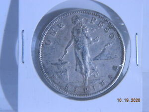 1911-S-Philippines-One-Peso-Silver-Foreign-Coin-Sweet-Condition