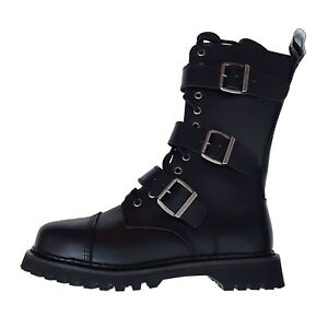 Demonia-Riot-12-Gothic-Punk-Black-Leather-Mens-Buckle-Steel-Toe-Boots-Size-10
